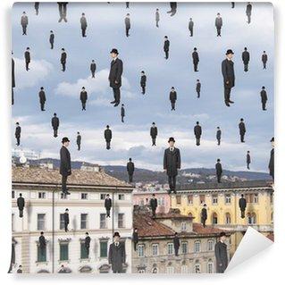 Papier Peint Vinyle Hommes d'affaires qui flottent dans le ciel de ville européenne, magritte sty
