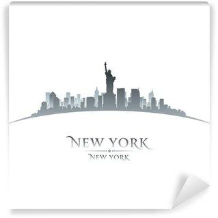Papier Peint Vinyle Horizon de New York de la ville silhouette fond blanc