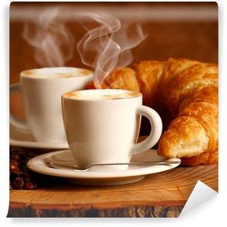 Papier Peint Vinyle Hot cappuccino et brioche