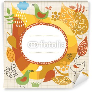 Papier Peint Vinyle Illustration automne, frame for text