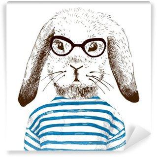 Papier Peint Vinyle Illustration de lapin habillé