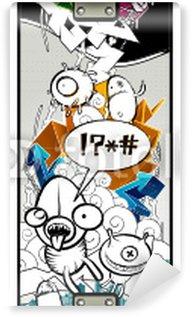 Papier Peint Vinyle Image de graffiti étrange sur planche à roulettes
