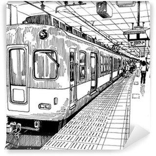 Papier Peint Vinyle Japon métro quai de la gare de train à Osaka dessin croquis d'encre s