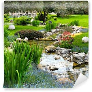 Papier Peint Vinyle Jardin avec étang dans un style asiatique