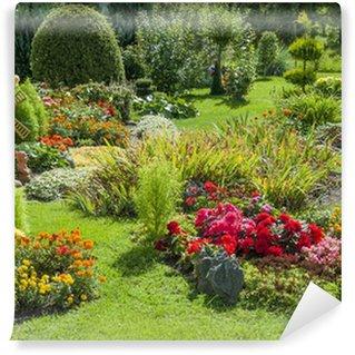 Papier Peint Vinyle Jardin fleuri et paysagé