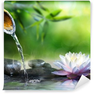Papier Peint Vinyle Jardin zen avec des pierres de massage et nénuphar