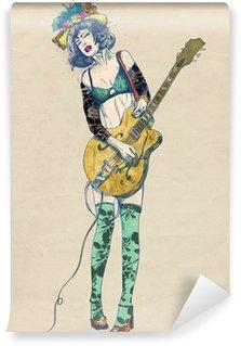 Papier Peint Vinyle Joueur de guitare - beauté passionnant.