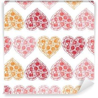 Papier Peint Vinyle Jour de fond Saint-Valentin avec la main dessinée croquis de pizza. Seamless avec vintage illustration alimentaire.