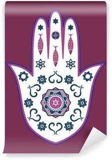 Papier Peint Vinyle Juive amulette main hamsa - ou la main de Miriam, illustration vectorielle