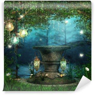 Papier Peint Vinyle L'autel dans la forêt de lanternes magiques