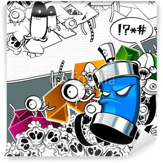 Papier Peint Vinyle L'image de graffiti étrange peut