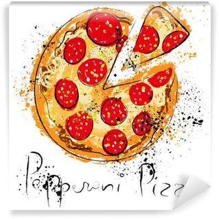 Papier Peint Vinyle La pizza pepperoni, dessiné à la craie sur un tableau noir,