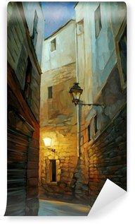 Papier Peint Vinyle La rue de nuit ancienne dans le quartier gothique de Barcelone, illustrati