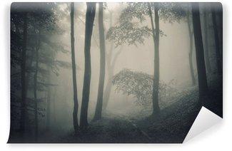 Papier Peint Vinyle La silhouette des arbres dans une forêt de brouillard