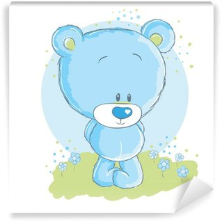 Papier Peint Lavable Bébé ours bleu