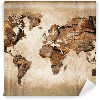 Papier Peint Lavable Carte du monde bois, texture vintage