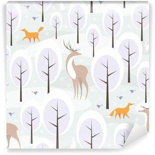 Papier Peint Lavable Christmas seamless pattern avec l'image de la forêt d'hiver et les animaux sauvages