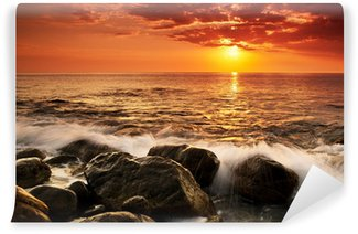 Papier Peint Lavable Coucher de soleil sur la mer