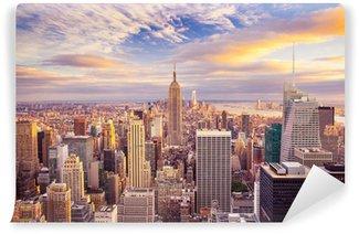Papier Peint Lavable Coucher de soleil vue de New York City à la recherche sur Manhattan