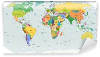 Papier Peint Lavable Globale La carte politique du monde, vecteur