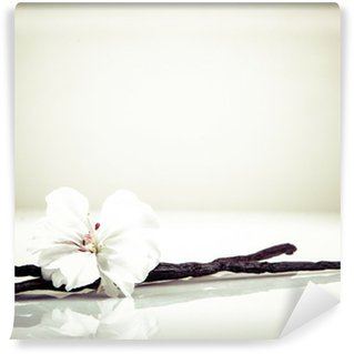 Papier Peint Lavable Gousse de vanille et fleur