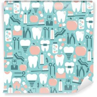 Papier Peint Lavable Graphics soins dentaires sur fond bleu