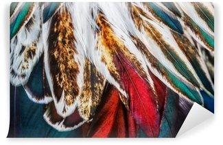 Papier Peint Lavable Groupe de plumes marron brillant d'un oiseau