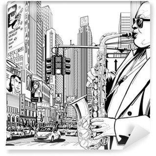 Papier Peint Lavable Joueur de saxophone dans une rue de New-York