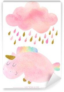 Papier Peint Lavable Licorne Aquarelle et de nuages avec de la pluie