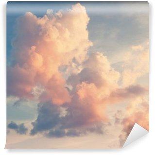 Papier Peint Lavable Nuages roses sur un ciel bleu