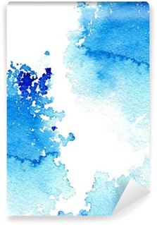 Papier Peint Lavable Résumé aquatique bleu foncé frame.Aquatic backdrop.Ink drawing.Watercolor tiré par la main image.Wet splash.White fond.
