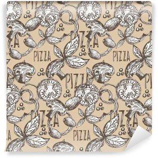 Papier Peint Lavable Seamless dessiné à la main délicieuse pizza avec des tomates, mozza