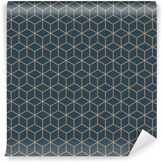 Papier Peint Lavable Seamless isométrique vecteur cubes motif bleu et brun tan