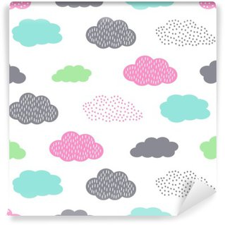 Papier Peint Lavable Seamless pattern Colorful avec des nuages pour des vacances d'enfants. Cute baby douche vector background. style de dessin des enfants illustration.