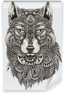 Papier Peint Lavable Très résumé détaillé loup illustration