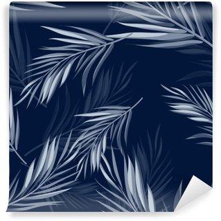 Papier Peint Lavable Tropical monochrome transparente bleu indigo fond de camouflage avec des feuilles et des fleurs