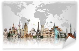 Papier Peint Lavable Voyage dans le concept de monde monuments