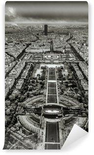 Papier Peint Vinyle Le Champ de Mars en Noir et Blanc