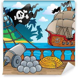 Papier Peint Vinyle Le thème des pirates pont navire 4