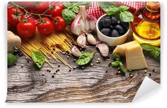 Papier Peint Vinyle Légumes, herbes et épices pour la cuisine italienne