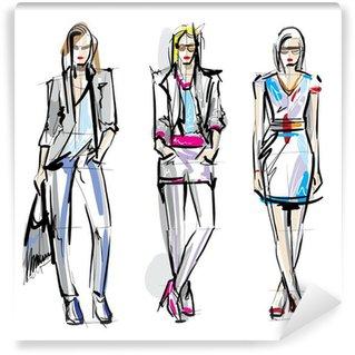 Papier Peint Vinyle Les mannequins. Sketch.