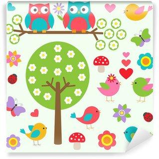 Papier Peint Vinyle Les oiseaux et les hiboux dans la forêt au printemps. Vector set