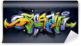 Papier Peint Vinyle Lettrage de graffiti lumineux
