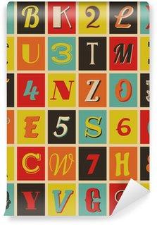 Papier Peint Vinyle Lettres et chiffres rétro
