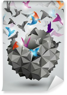 Papier Peint Vinyle Liberté papier, Origami illustration vectorielle abstraite.