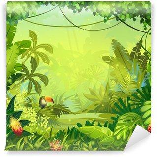 Papier Peint Vinyle Llustration avec des fleurs et de la jungle toucan