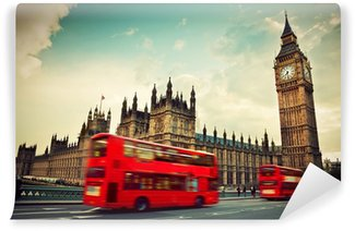 Papier Peint Vinyle Londres, Royaume-Uni. Bus rouge dans le mouvement et Big Ben
