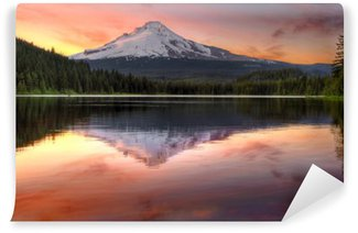 Papier Peint Vinyle Magnifique reflet d'une montagne sur un lac