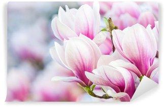 Papier Peint Vinyle Magnolia à fleurs roses