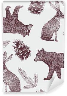 Papier Peint Vinyle Main hiver dessiné de fond sans soudure à la mode